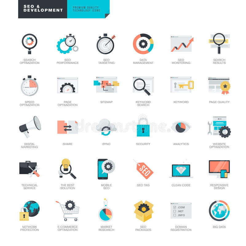 Diseño plano SEO e iconos del desarrollo del sitio web para el gráfico y los diseñadores web libre illustration