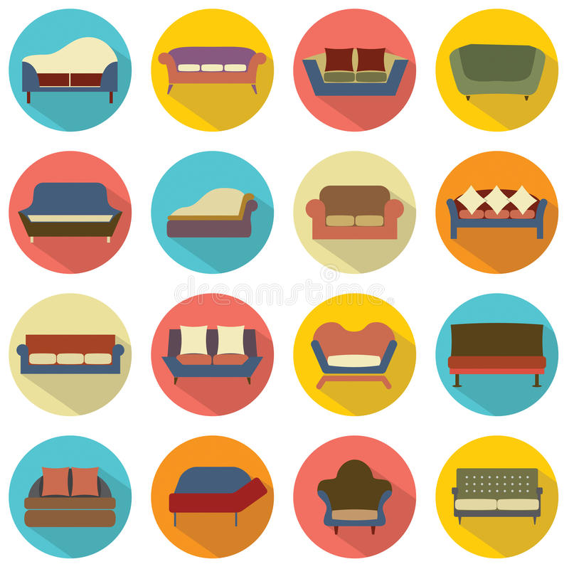 Diseño plano Sofa Icons ilustración del vector