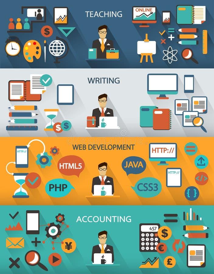 Diseño plano Trabajos independientes infographic con las sombras largas ilustración del vector