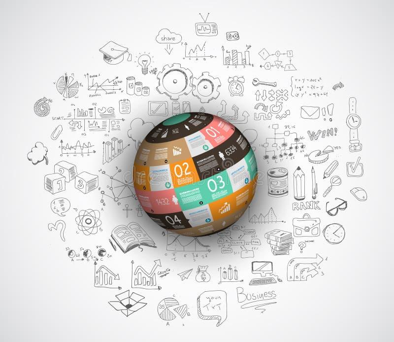 Diseño plano y conceptos dibujados mano para el éxito empresarial stock de ilustración