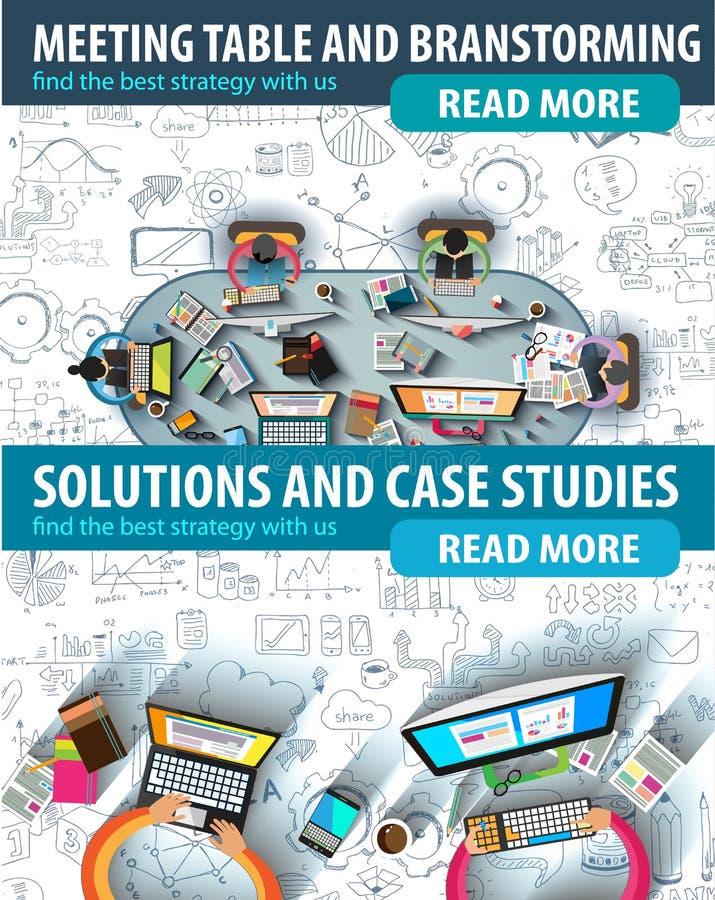 Diseño plano y conceptos dibujados mano para el éxito empresarial ilustración del vector