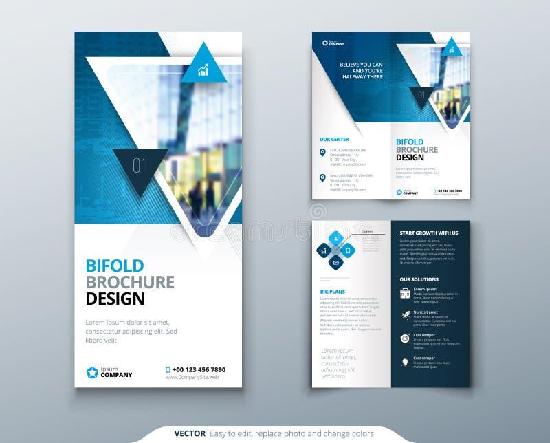 Diseño plegable del folleto Plantilla azul para el aviador del doblez del BI Disposición con la foto moderna del triángulo y el f stock de ilustración