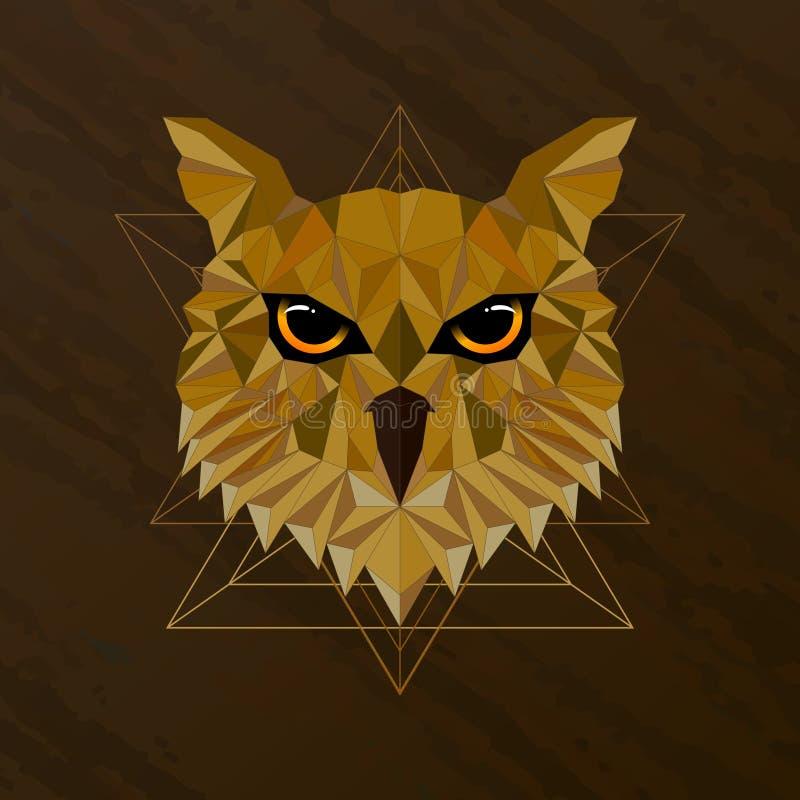Diseño polivinílico bajo del pájaro del búho imagen de archivo