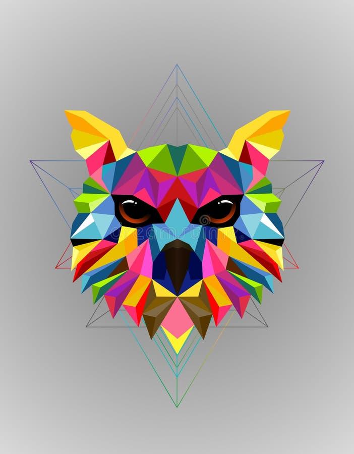 Diseño polivinílico bajo del pájaro colorido del búho imágenes de archivo libres de regalías