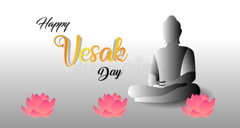 Diseño por un día feliz de Vesak con el concepto de amor budista santo stock de ilustración