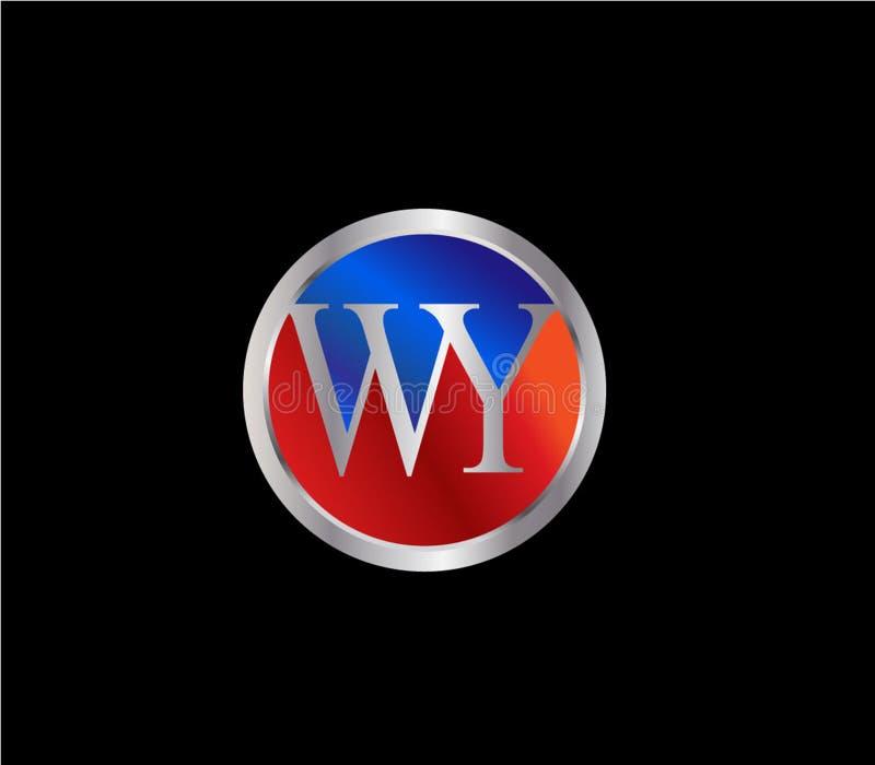Diseño posterior rojo de plata del logotipo del color azul de la forma inicial del círculo de WY libre illustration