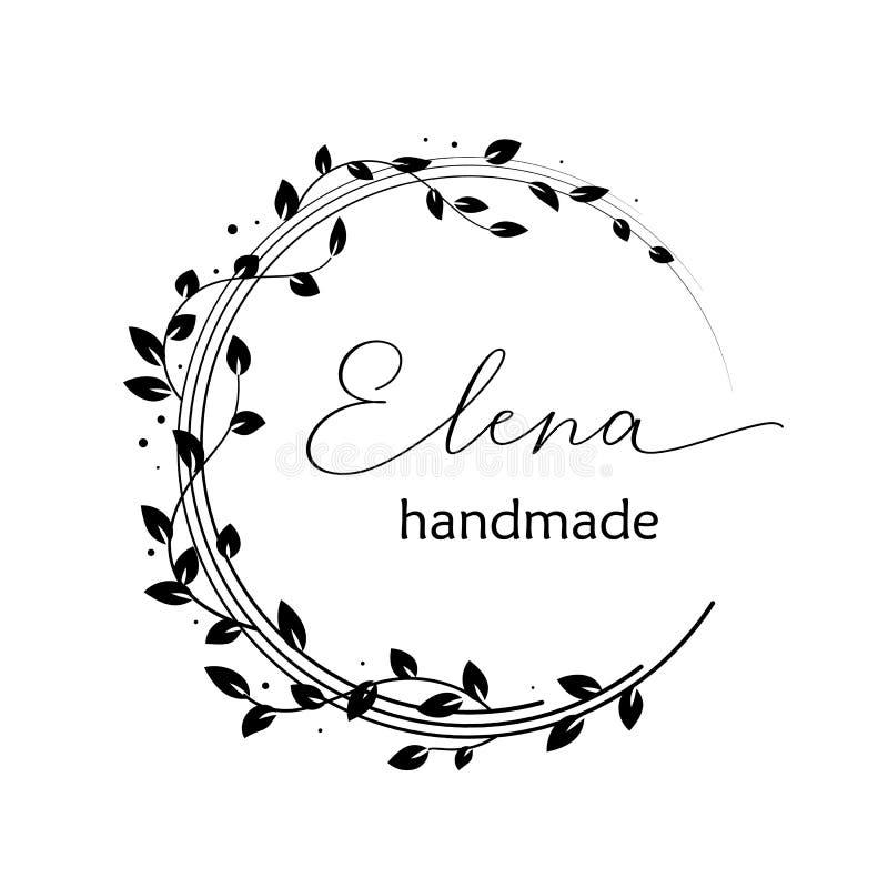 Diseño preparado de antemano del logotipo con la guirnalda floral Ramas y hojas de árbol Plantilla femenina del logotipo ilustración del vector