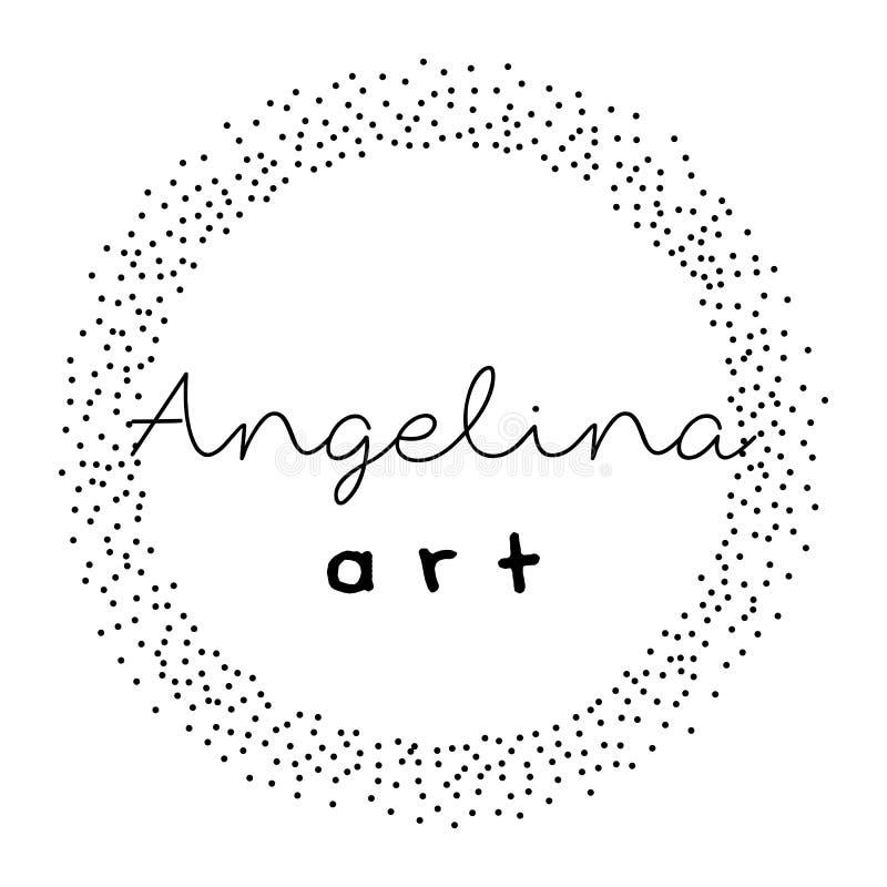 Diseño preparado de antemano del logotipo con la guirnalda punteada stock de ilustración