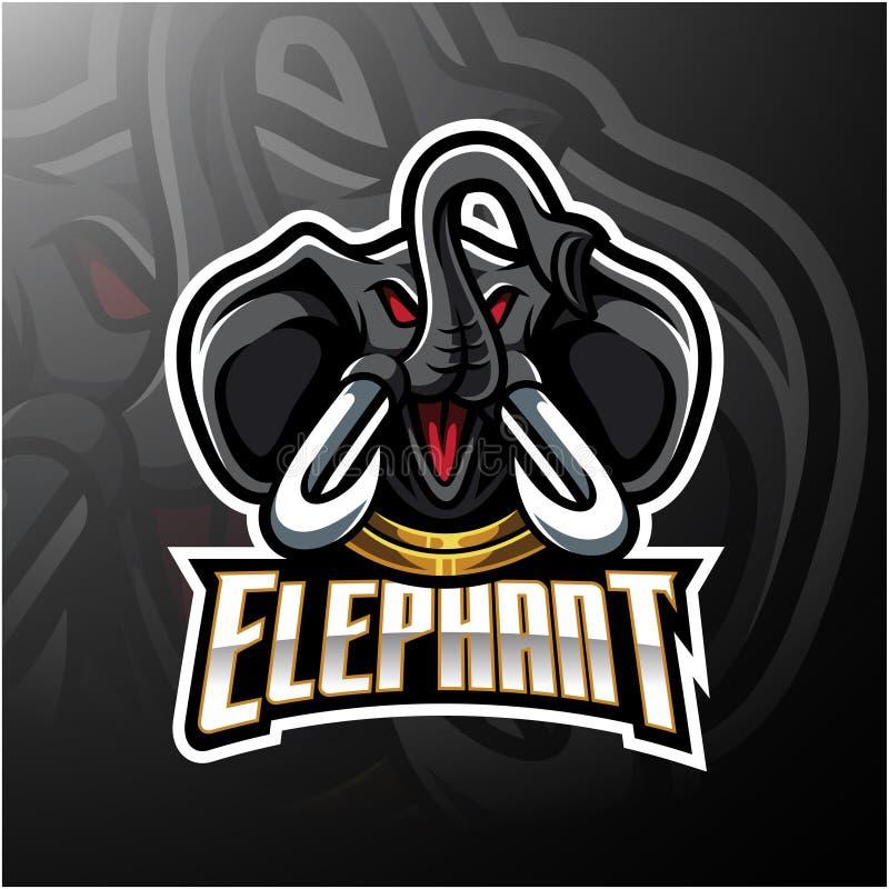 Diseño principal del logotipo de la mascota del elefante stock de ilustración