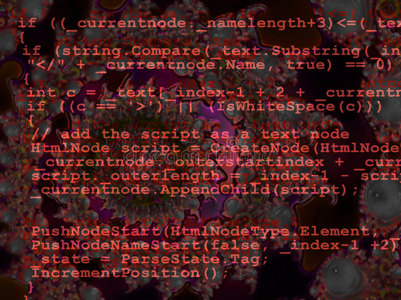 Diseño programado rojo de la fuente del código en fractal ilustración del vector