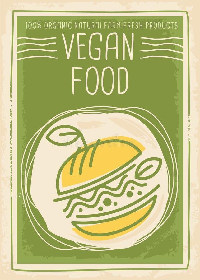 Diseño promocional de la bandera de la comida del vegano con la hamburguesa del vegano ilustración del vector