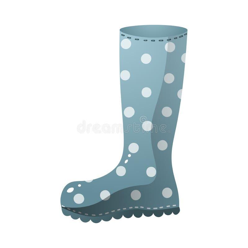Diseño punteado blanco azul de las botas de lluvia del color libre illustration