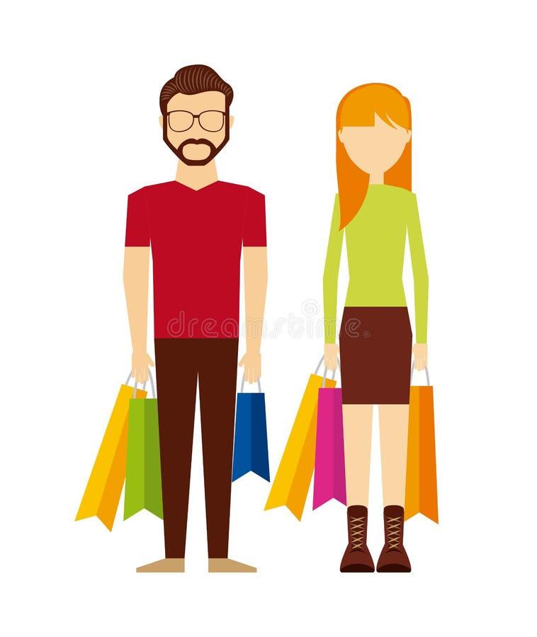 Diseño que hace compras de la gente ilustración del vector