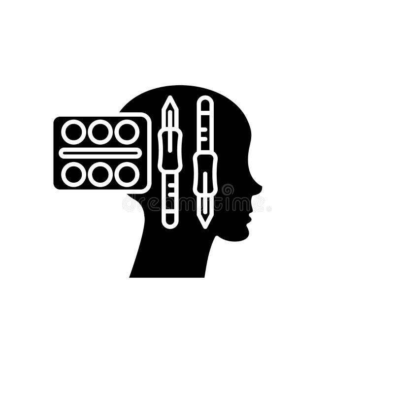 Diseño que piensa el icono negro, muestra del vector en fondo aislado Símbolo de pensamiento del concepto del diseño, ejemplo stock de ilustración