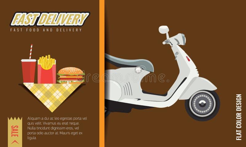 Diseño rápido y libre de los alimentos de preparación rápida de la entrega del cartel o de la plantilla Ilustración del vector ilustración del vector