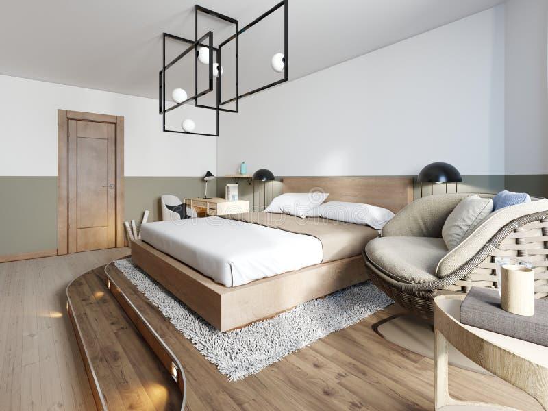 Diseño rústico moderno del dormitorio y una cama en un podio de madera con la iluminación punteada en un estilo del desván Silla  stock de ilustración