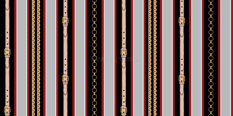 Diseño rayado inconsútil con las cadenas y las correas en fondo alineado rojo y negro libre illustration