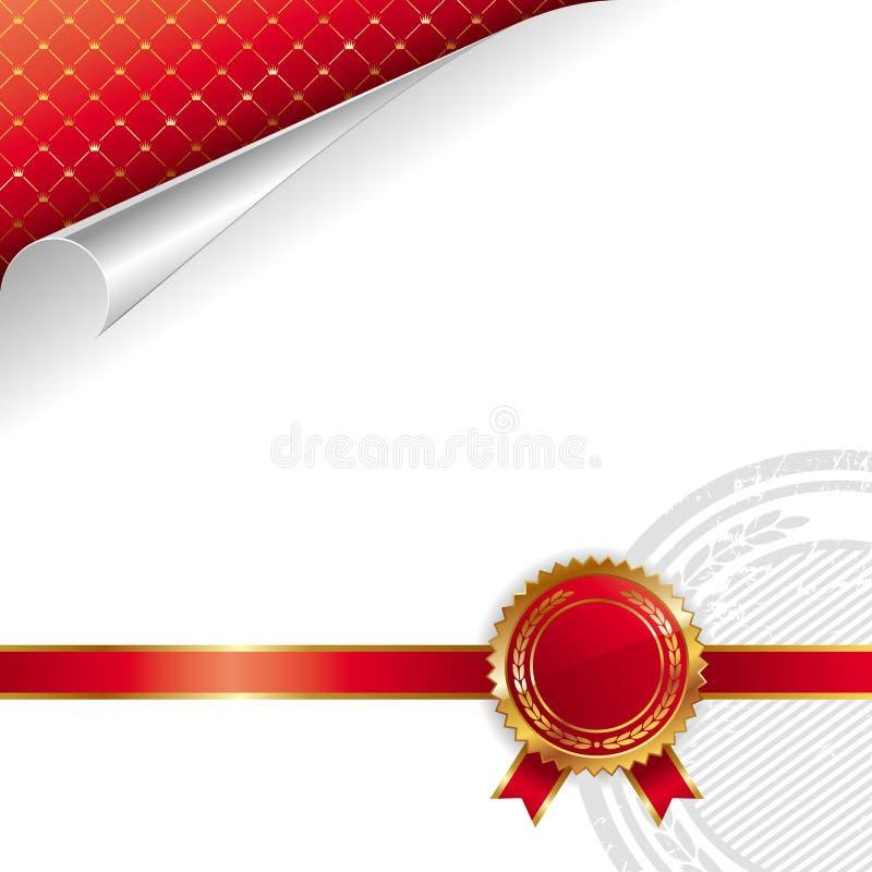 diseño real De oro-rojo con el sello de la calidad stock de ilustración