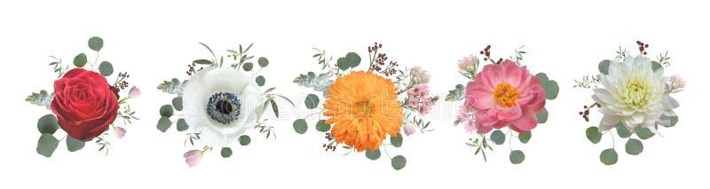 Diseño real del ramo floral: flor pálida de la cera de Rose del polvo cremoso de la lavanda del melocotón del rosa de jardín, ver imágenes de archivo libres de regalías