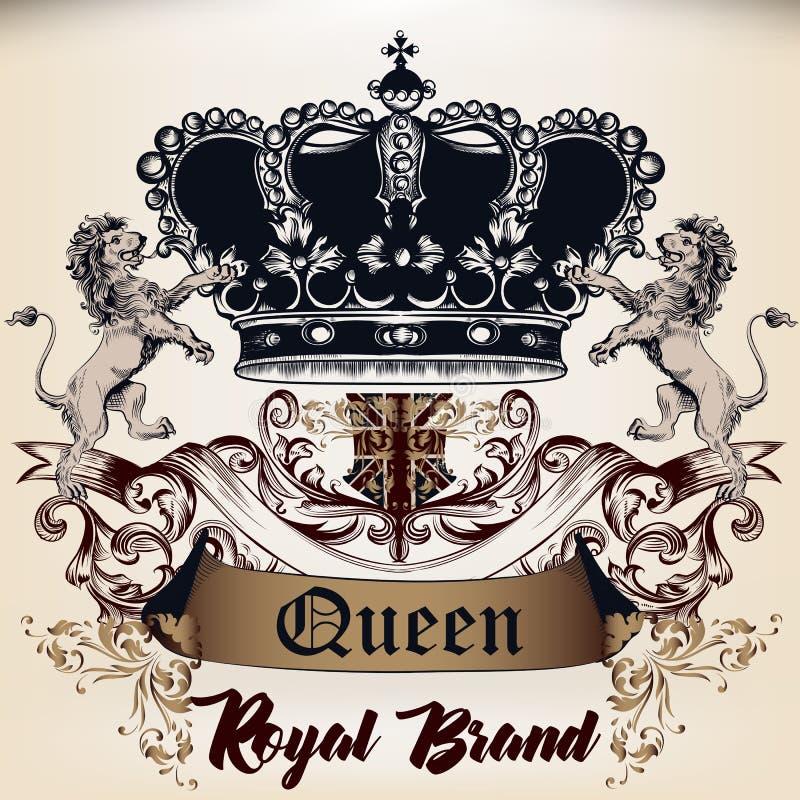Diseño real heráldico de logotipo en el estilo antiguo con la corona, l ilustración del vector