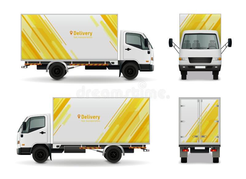 Diseño realista de la maqueta de la publicidad del vehículo de cargo stock de ilustración