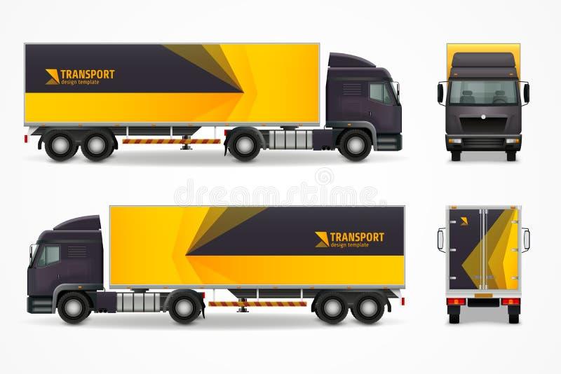 Diseño realista del ANUNCIO de la maqueta del vehículo de cargo libre illustration