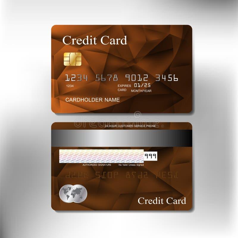 Diseño realista del vector de la tarjeta de crédito de la textura del color de Brown ilustración del vector
