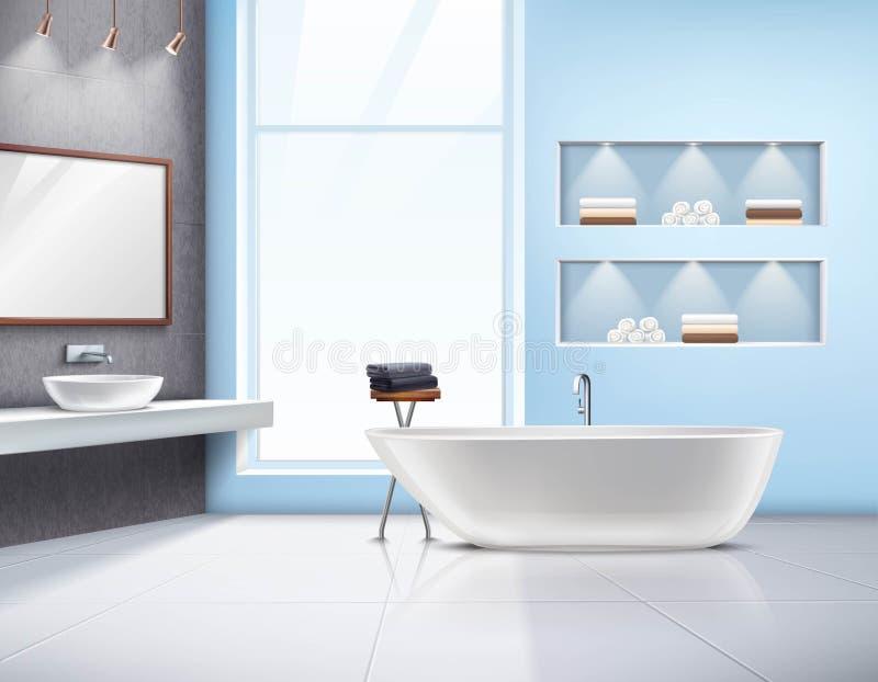 Diseño realista interior del cuarto de baño libre illustration