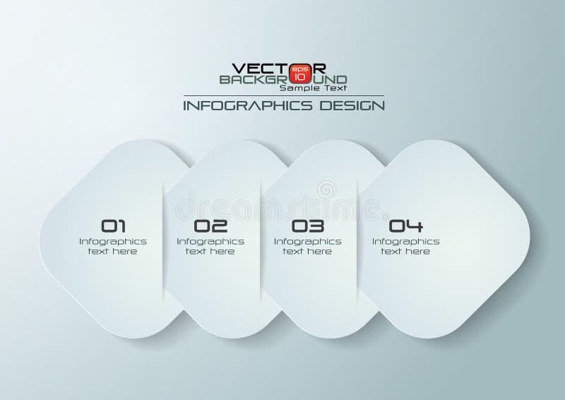 Diseño redondeado papel de Infographics de los rectángulos ilustración del vector