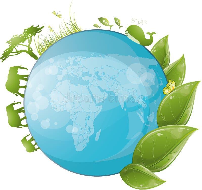 Diseño redondo de la naturaleza con la hoja y el globo verdes ilustración del vector