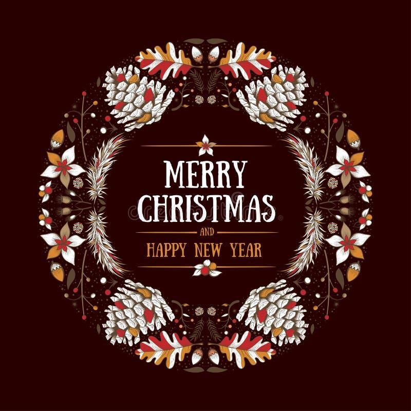 Diseño redondo de la Navidad del marco stock de ilustración