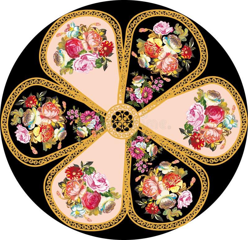 Diseño redondo de la rosa del rojo en negro ilustración del vector