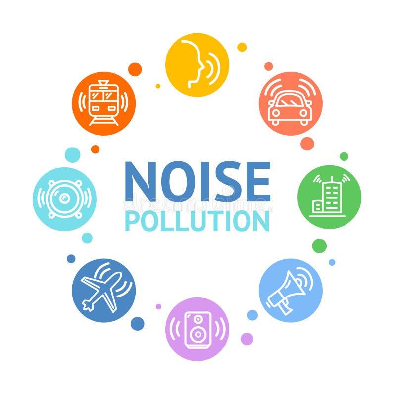 Diseño redondo de la tarjeta del concepto de la contaminación acústica Vector stock de ilustración