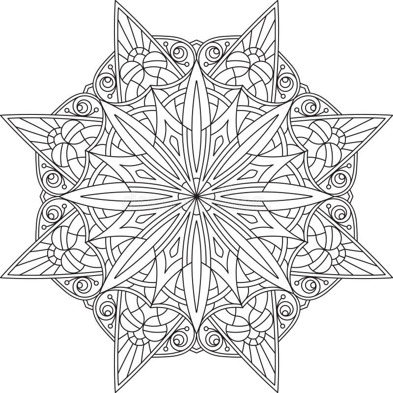 Diseño redondo del cordón del negro abstracto del vector en la mono línea estilo - hombre stock de ilustración