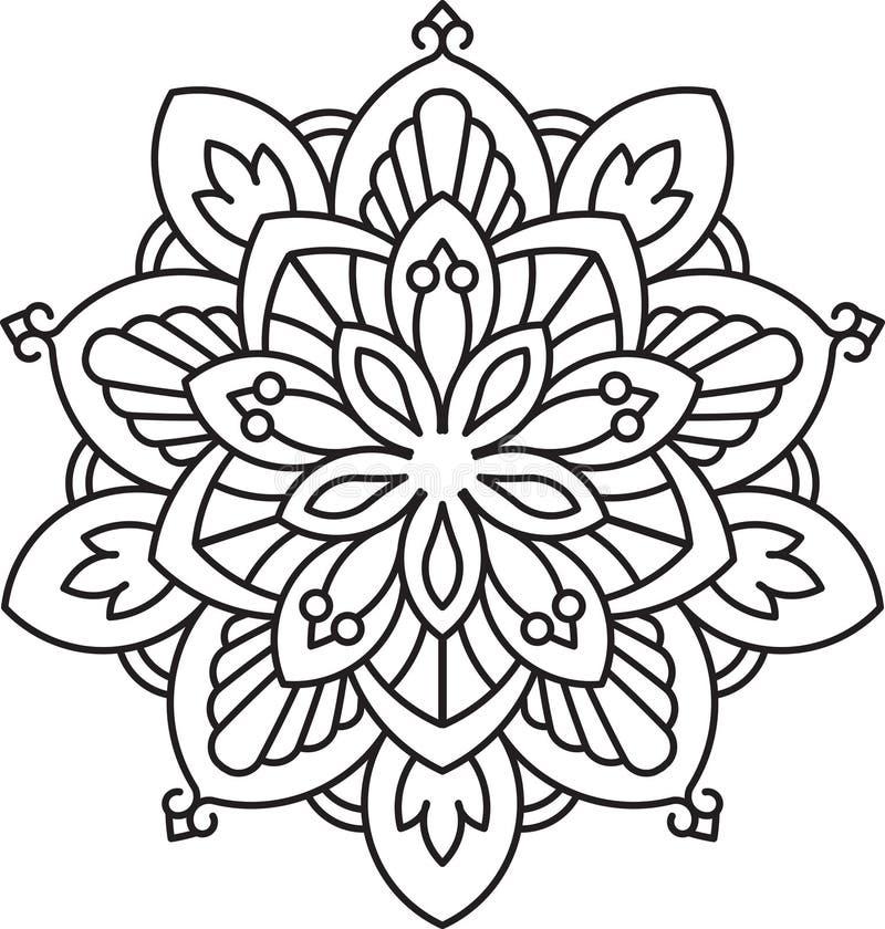 Diseño redondo del cordón del negro abstracto del vector - mandala, decoros étnicos stock de ilustración