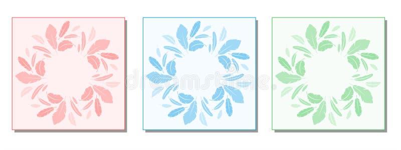 Diseño redondo del marco de la pluma tres Composición del vector libre illustration