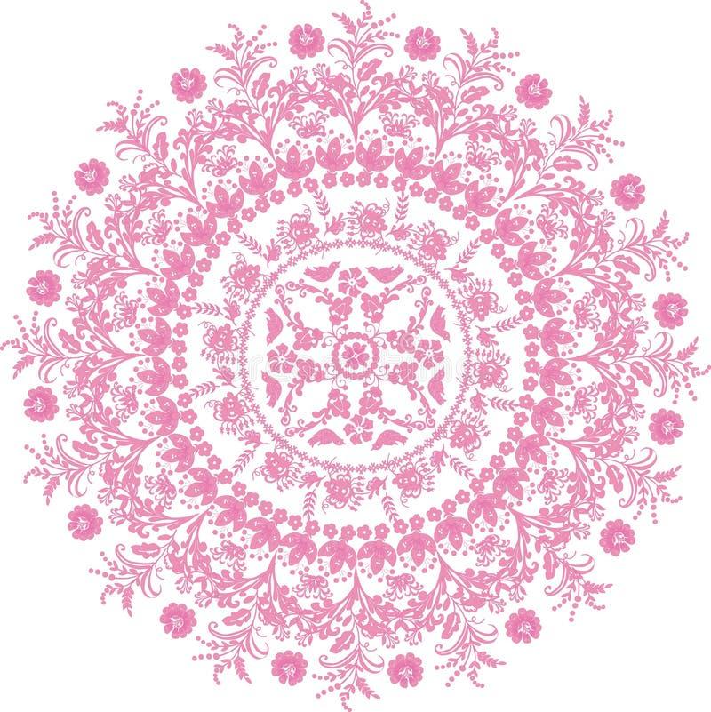 Diseño redondo rosado de la flor ilustración del vector