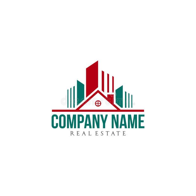 Diseño residencial del logotipo de la compañía de las propiedades inmobiliarias ilustración del vector