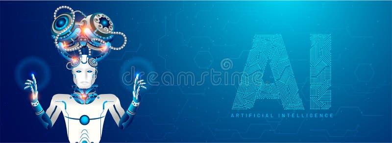 Diseño responsivo artificial de la bandera del web de la inteligencia (AI), humano libre illustration