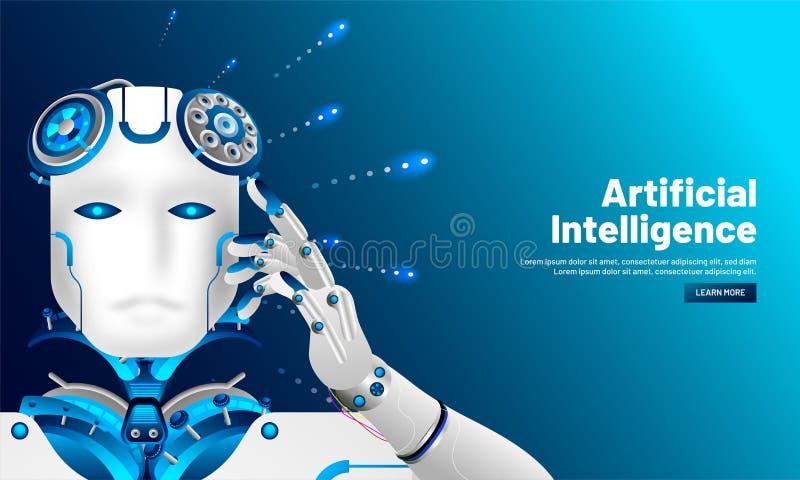 Diseño responsivo artificial de la plantilla del web de la inteligencia (AI), Cyb ilustración del vector