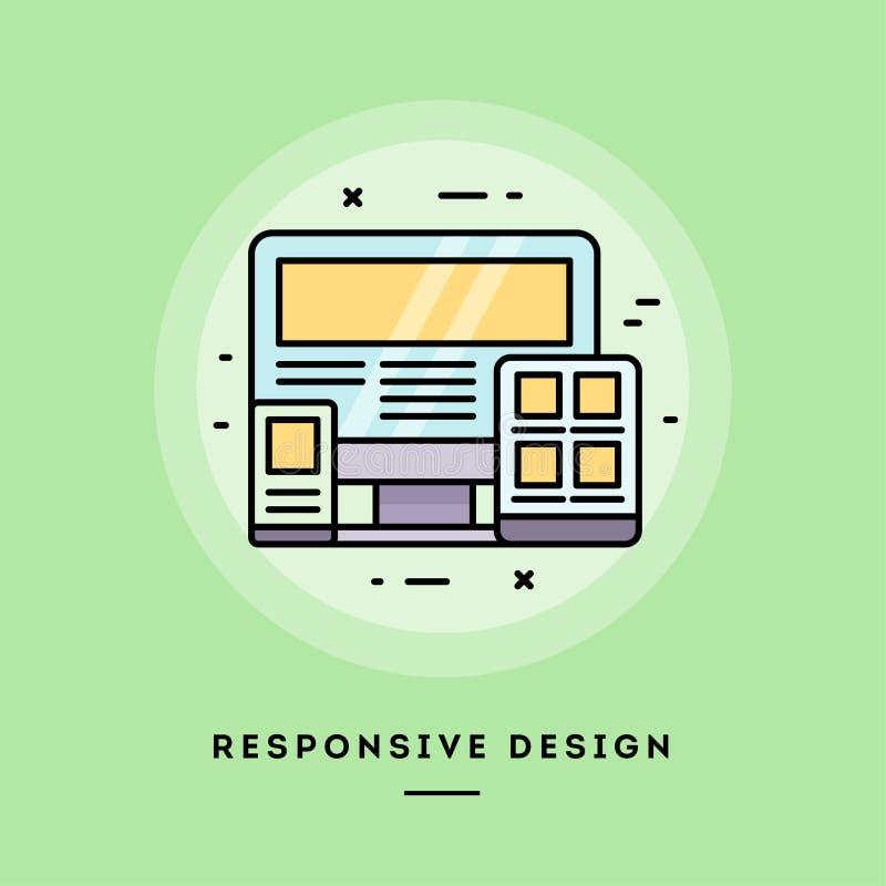 Diseño responsivo, línea fina bandera del diseño plano Ilustración del vector libre illustration