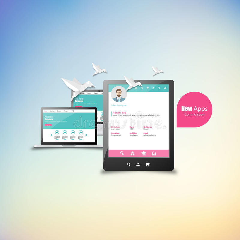 Diseño responsivo para la pantalla de ordenador del Web, smartphone, iconos de la tablilla fijados stock de ilustración