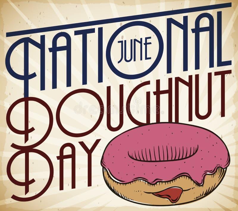 Diseño retro con el buñuelo delicioso para celebrar el día nacional del buñuelo, ejemplo del vector stock de ilustración