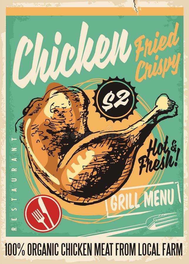 Diseño retro curruscante del menú del restaurante de las piernas de pollo frito stock de ilustración