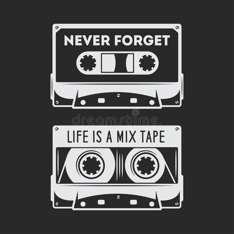 Diseño retro de la camiseta del casete audio Ejemplo del vintage del vector stock de ilustración