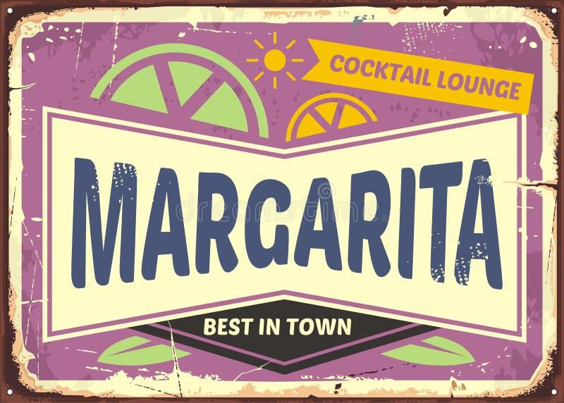 Diseño retro de la muestra de la barra del cóctel para los Margaritas libre illustration