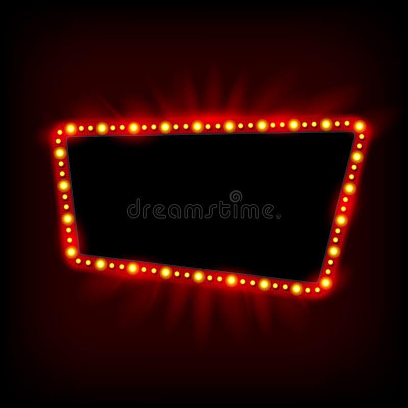 Diseño retro de la muestra de los años 50 de Showtime Cartelera de las lámparas de neón Capítulo de bombillas de la señalización  ilustración del vector