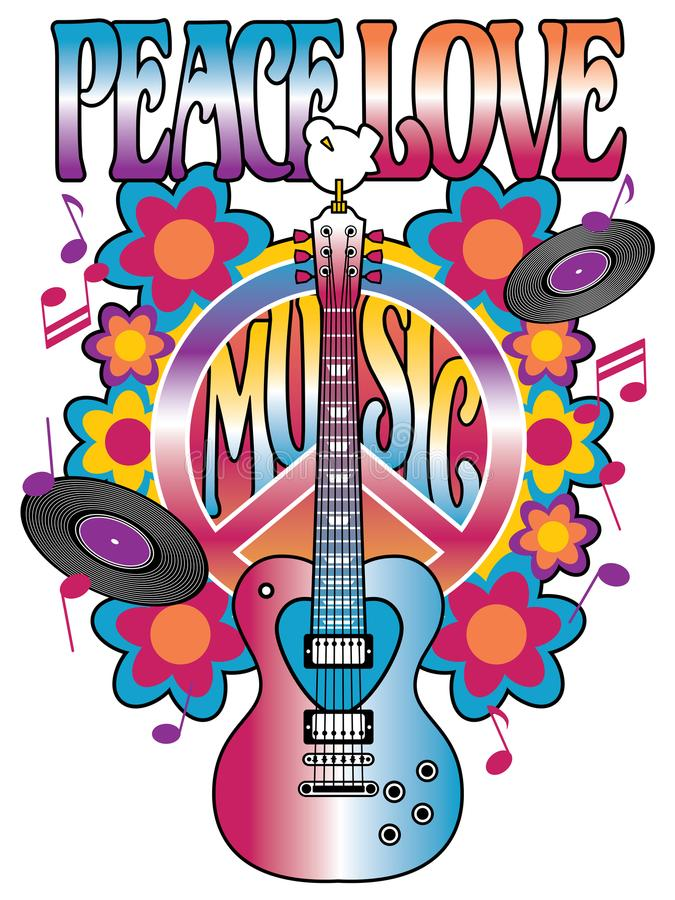 Diseño retro de la Paz-Amor-música stock de ilustración