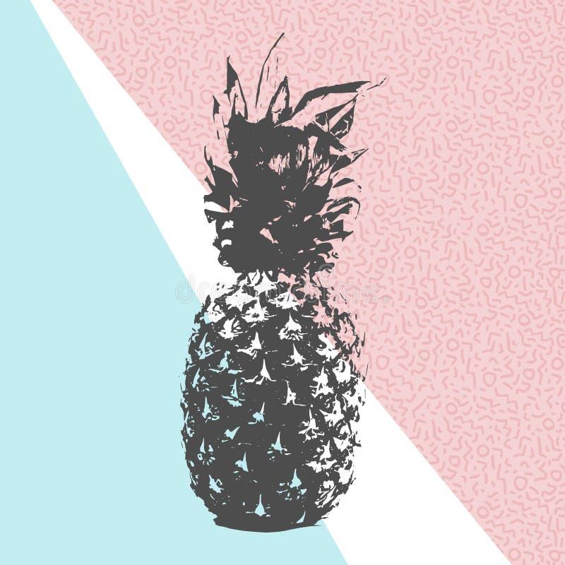 Diseño retro de la piña del verano con las formas 80s libre illustration