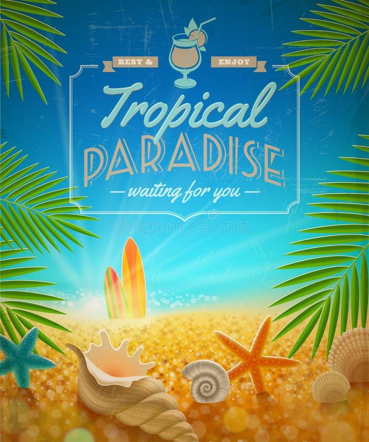 Diseño retro de las vacaciones de verano stock de ilustración